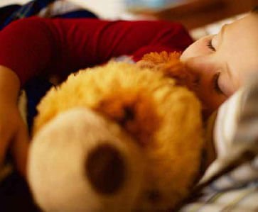 Picture of Little Girl Sleeping with Bear